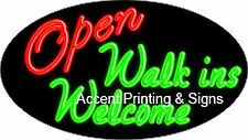 Open Walk-Ins Welcome Handcrafted Real Glasstube Flashing Neon Sign