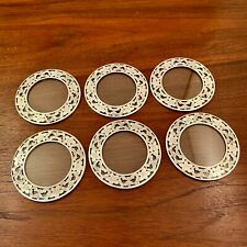 (6) Webster Sterling Silver Overlay Glass Coasters Floral Decoration - No Mono