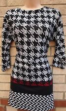 FLORENCE & FRED BLACK WHITE RED DOG TOOTH CHECK JUMPER KNIT LONG TOP BLOUSE 12