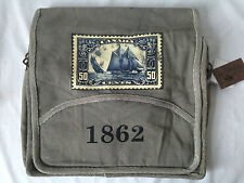 1862 Canvas Messenger Bag Leather Strap Canada 50 Cent Stamp Unisex Laptop Case