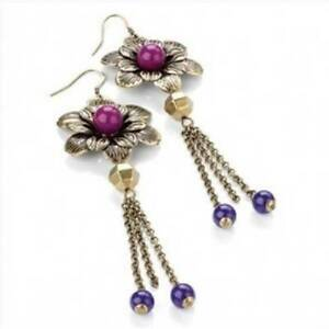 New on Card Burnished Gold Effect Purple Flower Dangling Chain Dropper Earrings