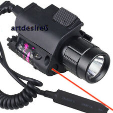 Tactical CREE LED Flashlight/Light+Red Laser/Sight fit for gun Glock