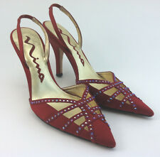 Nina red high heel point toe slingback rhinestone satin party shoes size 37 7 M
