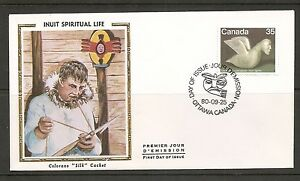 Canada SC # 868 Works By Eskimo Artist, Bird Spirit. Colorano Silk Cachet.