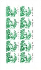 US 5295 Statue of Freedom One Dollar Emerald Green $1 sheet (10 stamps) MNH 2018