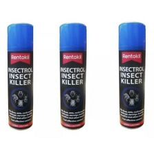 3 x RENTOKIL INSECTROL INSECT KILLER SPRAY KILLS BED BUGS FLEAS ANT FLY 250ML