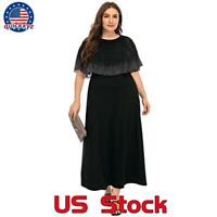 Plus Size Womens Ruffles Short Sleeve Maxi Long Dress Ladies Party Evening Dress