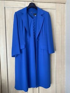 Beautiful Blue Gina Mother of the Bride wedding outfit size 14matching Hat & Bag