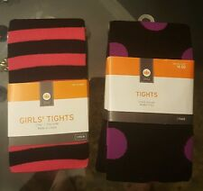 NWT Halloween Tights - 2 Pairs - Black w/ Purple & Pink Stripes