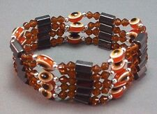 """Silver Accent Lucky Brown Good Luck 33"""" Evil Eye Necklace/Bracelet Bead Hematite"""