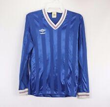 New Vtg 80s Umbro Mens Medium Spell Out Striped Long Sleeve Soccer Jersey Blue