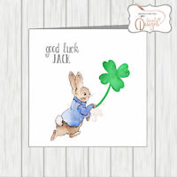 Personalised Peter Rabbit Sending Good Luck Card Lucky Four Leaf Clover Shamrock