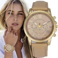 Fashion New Geneva Women Leather Band Stainless Steel Quartz Analog Wrist Watch