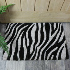 Natural coir black white zebra print outdoor door mat home decor accessories