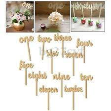 1-12/Set Wooden Table Numbers Freestand Stick Wedding Birthday Party Decor +Base
