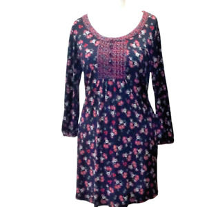 Casual Collection Debenhams Ladies Dress Tunic Sz 14 Black Red Floral FLAW