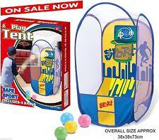 Pop-up TENT Basketball Scoring Game Hoop Net + 4 Balls - Indoor & Outdoor Toy