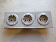 3 Stück Steckdosen GIRA S-Color grau + 3-fach Rahmen waage / senkrecht