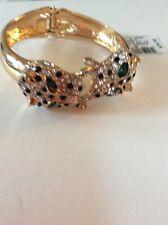 $39.50  Thalia Gold Tone Glitter Leopard Head  Hinged Bangle Bracelet T2