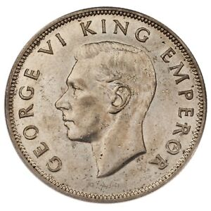 1942 New Zealand Silver 1/2 Crown in AU Condition KM #11