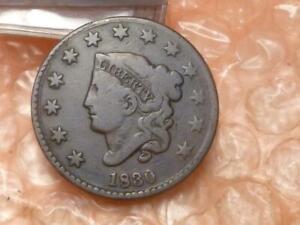 1830 Coronet Liberty Head Large Cents : Medium Letters #DD