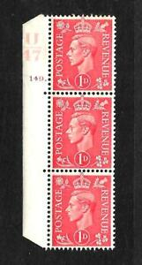 1941 (E728)1d RED LIGHT COLOUR CONT U47 CYL 149  DOT STRIP - 3 UNMOUNTED MINT