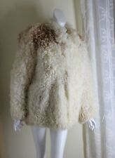 Vintage MONGOLIAN CURLY LAMB Tibetan BEIGE Shaggy Sheep FUR COAT Sz 12 M L