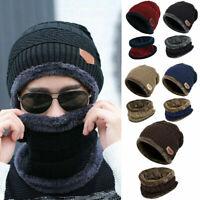 US STOCK Men Winter Warm Hat Knit Visor Beanie Fleece Lined Beanie with Brim Cap