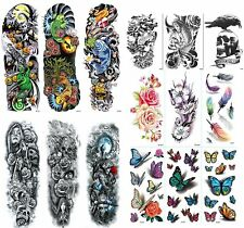15 Sheets Full Arm Temporary Tattoos for Men & Women with 3D Tattoos for Kids