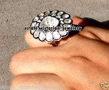 Silver Victorian Cluster Ring Jewelry 2.65Cts Rose Solitaire Antique Cut Diamond