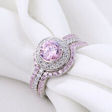 3pcs Round CZ 925 Sterling Silver Pink Sapphire Wedding Engagement Ring Set Sz 8