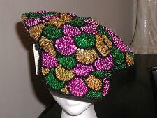 SEQUIN MARDI GRAS BRANDO NEWSBOY HAT CAP COSTUME PARADE GLITTERING COLORS NEW!