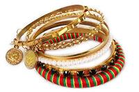 7-Piece Women's Fashion Bangle Bracelet Set Pearl Bohemia Burnished Gold Jewelry