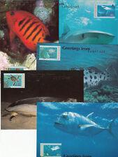 Stamps sea fish Australia Post maximum card set 5 SUNSHINE COAST overprint