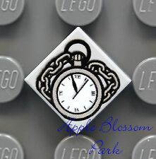 NEW Lego Minifig POCKET WATCH 1x1 Printed Gray TILE w/Clock Chain - Lone Ranger