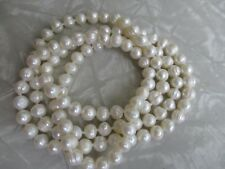 Freshwater pearl necklace long strand white textured no clasp baroque 32 inch
