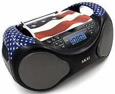 New Akai USA Portable Stereo CD Player BoomBox FM Radio AUX-IN LCD Display