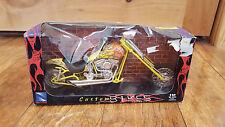 BRAND NEW RAY 1/12 SCALE CUSTOM FLAMES YELLOW ORANGE CHOPPER BIKE MOTORCYCLE