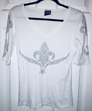 Avangard Philip Laurent White Bejeweled Front Back Sleeves Stretch Blouse NWOT