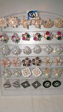 JOBLOT de 18 Pares Mezclados Diseño Pendientes Con Diamante-Nuevo Lote Mayorista H