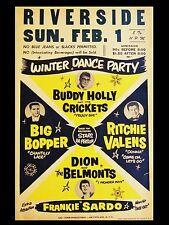 """Buddy Holly Riverside Winter Dance Party 16"""" x 12"""" Photo Repro Concert Poster"""