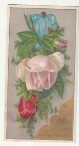 With Best Wishes for Your Birthday Roses Blue Ribbon Embossed Vict Card c1880s