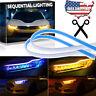 2x Flexible 60cm LED Headlight Slim Strip Light DRL Sequential Turn Signal Lamp