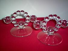 """Imperial Candlewick Crystal #400/100 Double Candleholders 4 3/4"""" hi - MINT PAIR"""
