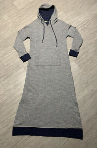 SOFT SURROUNDINGS Sz S Blue LAZY DAY LOUNGER Hooded Terry Knit Long House Dress