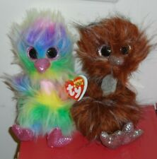 Set of 2 - NEW ~ 2019 Release Ty Beanie Boos ~ ORSON & ASHA Ostrich ~ IN HAND