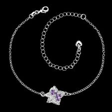 925Sterling Solid Silver Jewelry Purple Crystal Star Chain Anklet Bracelet PA012