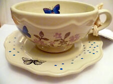 Country Living Latte Cup & Saucer Set - Butterfly & Flower set of 4