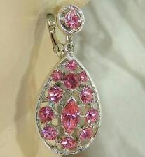 Beautiful Vintage 70's Pink Rhinestone Clip Earrings 222AP6