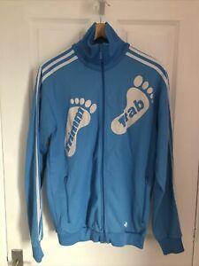 ADIDAS BLUE ZIP UP TRACKSUIT TOP TRIMM TAB SIZE LARGE